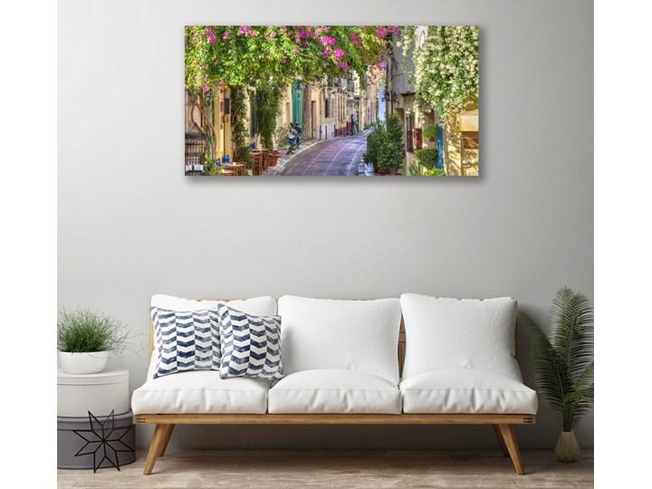 Obraz Canvas Alejka Kwiaty Domy Roślina Kolor Złoty