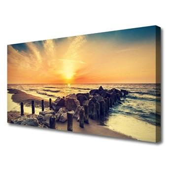 Obraz Canvas Plaża Falochron Morze Zachód