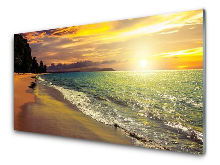 Obraz na Szkle Słońce Plaża Morze Krajobraz Wymiary 60x120 cm