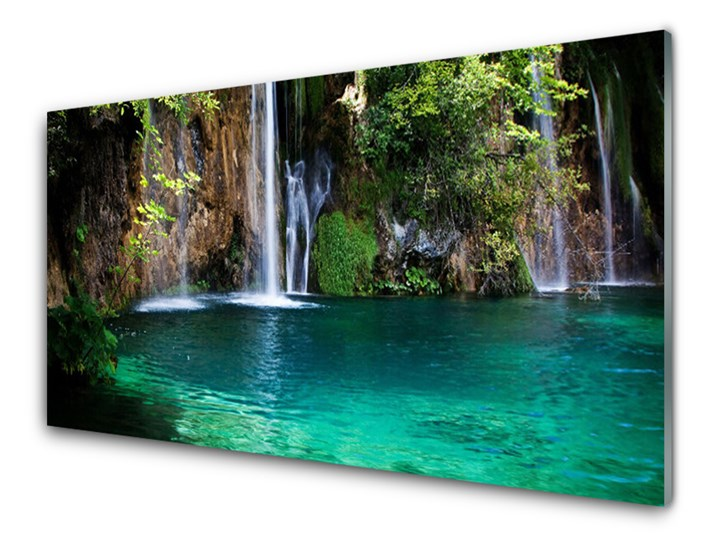 Obraz na Szkle Jezioro Wodospad Natura Kategoria Obrazy Wymiary 50x125 cm