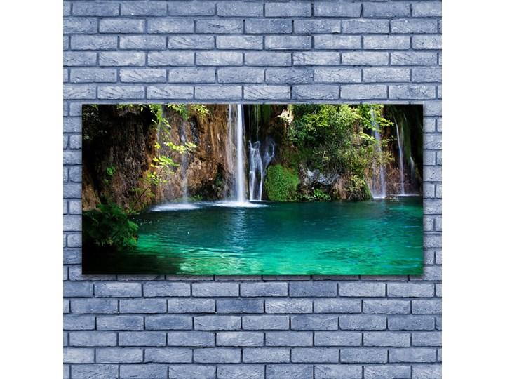 Obraz na Szkle Jezioro Wodospad Natura Kolor Turkusowy Kategoria Obrazy
