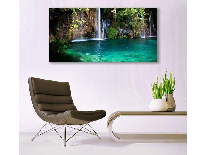 Obraz na Szkle Jezioro Wodospad Natura Wymiary 50x125 cm Pomieszczenie Przedpokój