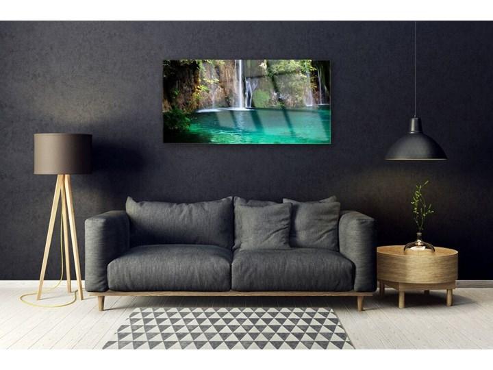 Obraz na Szkle Jezioro Wodospad Natura Pomieszczenie Biuro i pracownia Wymiary 70x140 cm