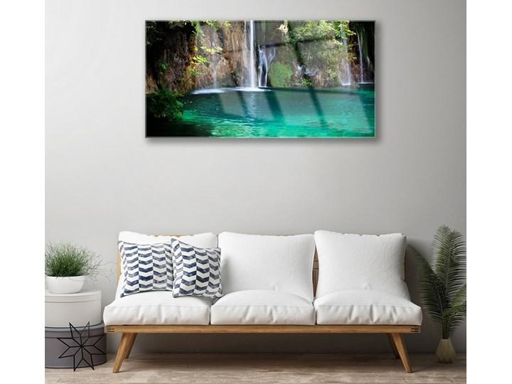 Obraz na Szkle Jezioro Wodospad Natura Pomieszczenie Przedpokój Wymiary 60x120 cm