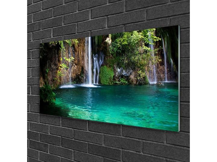 Obraz na Szkle Jezioro Wodospad Natura Wymiary 50x125 cm Kolor Turkusowy