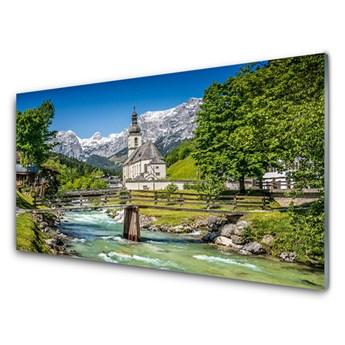 Obraz na Szkle Kościół Most Jezioro Natura