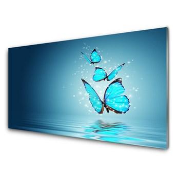 Obraz Szklany Niebieski Motyle Woda Sztuka