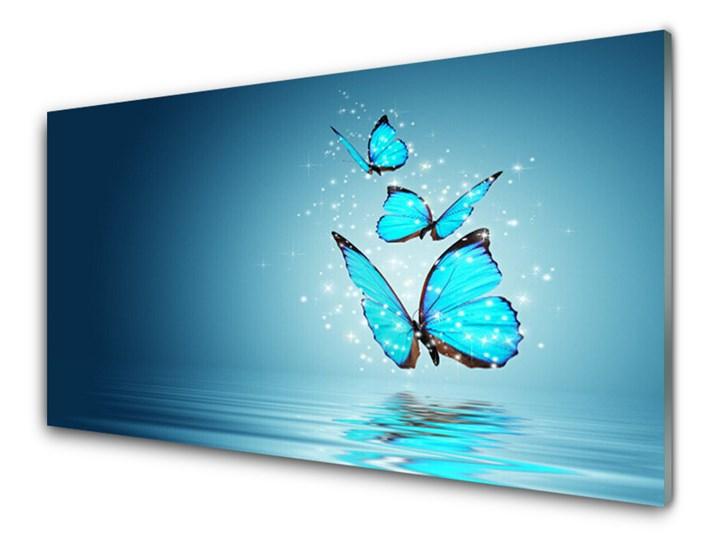 Obraz Szklany Niebieski Motyle Woda Sztuka Pomieszczenie Salon