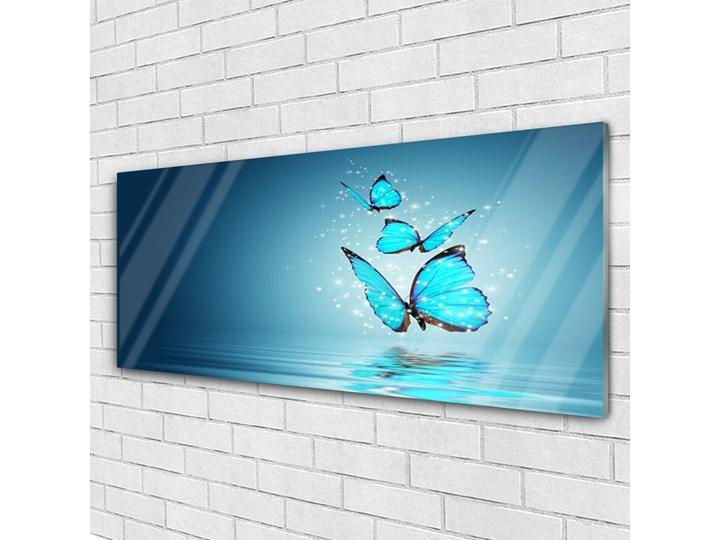 Obraz Szklany Niebieski Motyle Woda Sztuka Wymiary 50x125 cm Wymiary 50x100 cm