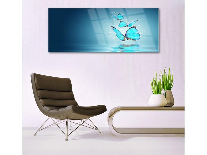 Obraz Szklany Niebieski Motyle Woda Sztuka Wymiary 50x100 cm Wykonanie Na szkle