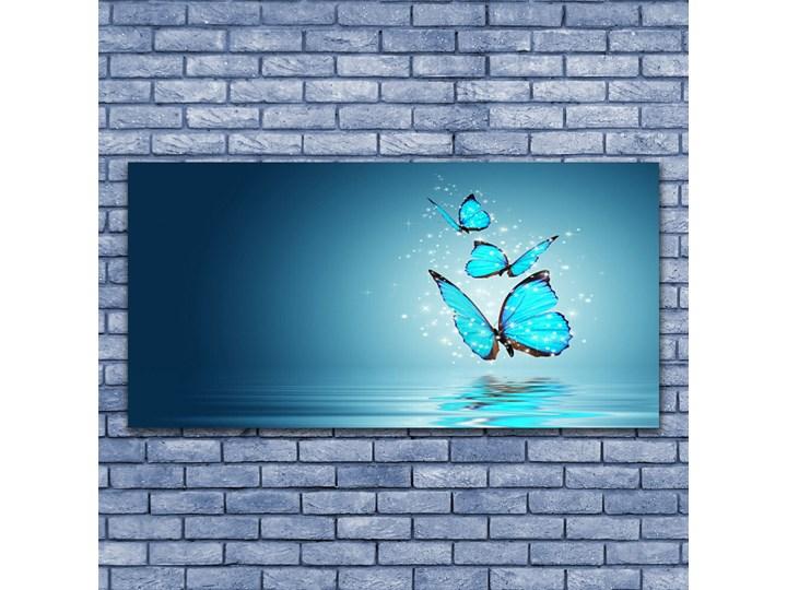 Obraz Szklany Niebieski Motyle Woda Sztuka Kolor Turkusowy Wymiary 50x125 cm