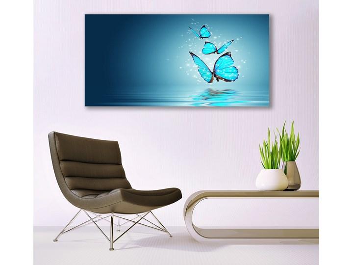 Obraz Szklany Niebieski Motyle Woda Sztuka Pomieszczenie Salon Wymiary 60x120 cm