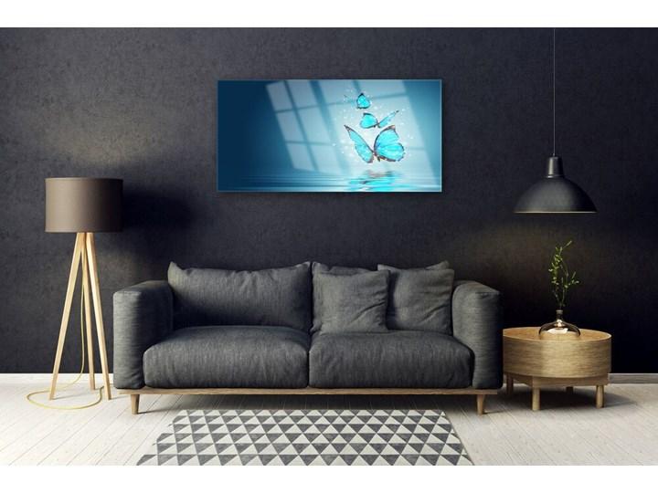 Obraz Szklany Niebieski Motyle Woda Sztuka Wykonanie Na szkle