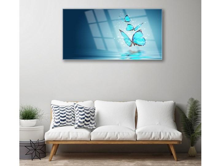 Obraz Szklany Niebieski Motyle Woda Sztuka Kolor Turkusowy