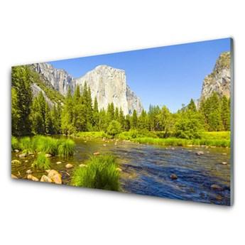 Obraz Szklany Jezioro Góra Las Przyroda
