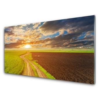 Obraz Szklany Pole Niebo Słońce Przyroda
