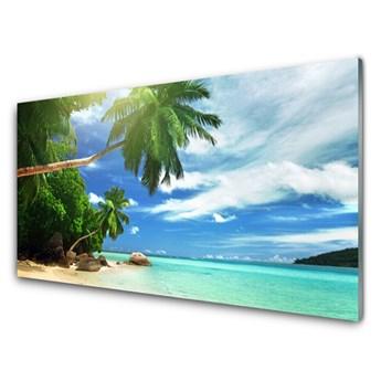 Obraz Szklany Palma Plaża Morze Krajobraz