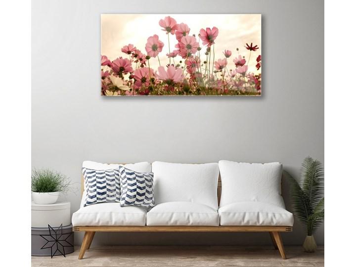 Obraz Szklany Kwiaty Polne Łąka Natura Kolor Różowy