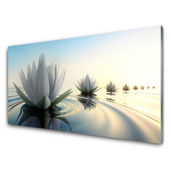 Obraz Szklany Lilie Wodne Kwiaty Staw