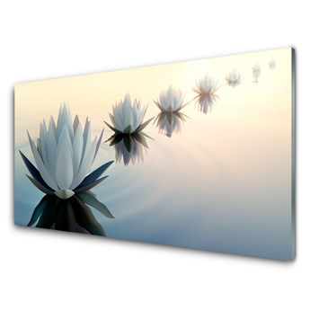 Obraz Szklany Lilie Wodne Grzybień Biały