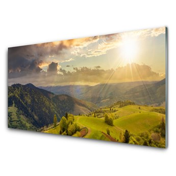 Obraz Szklany Góry Łąka Zachód Słońca