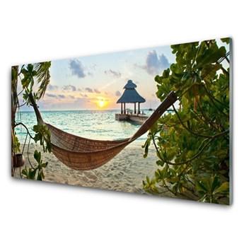 Obraz Akrylowy Plaża Hamak Morze Krajobraz