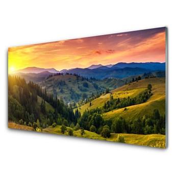 Obraz Akrylowy Krajobraz Łąka Zachód