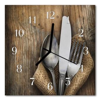 Zegar ścienny kwadrat Sztućce kuchnia