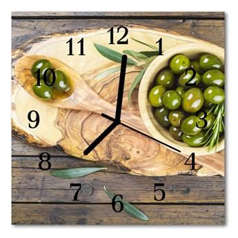 Zegar ścienny kwadrat Oliwki drewniane
