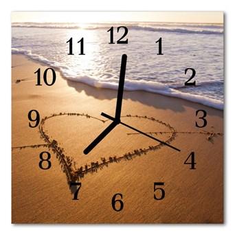 Zegar ścienny kwadrat Serce na plaży