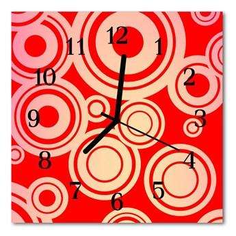 Zegar ścienny kwadrat Czerwone kółka