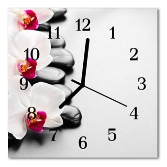 Zegar ścienny kwadrat Kamienie storczyki