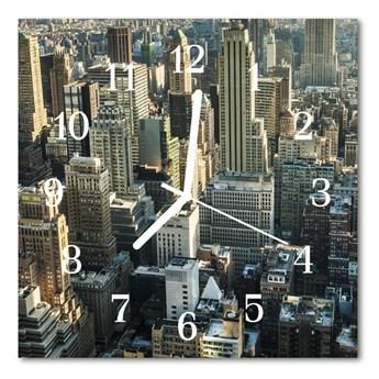 Zegar szklany kwadratowy Miasto budynki