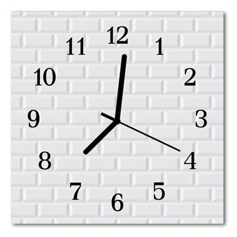 Zegar szklany kwadratowy Cegła