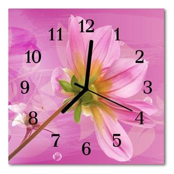 Zegar szklany kwadratowy Kwiat