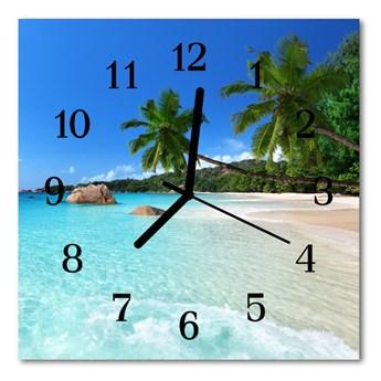 Zegar szklany kwadratowy Plaża
