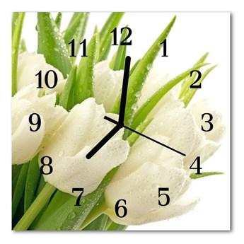 Zegar szklany kwadratowy Tulipany