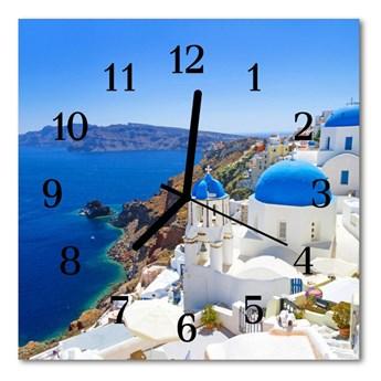 Zegar szklany kwadratowy Santorini