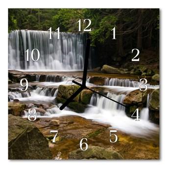 Zegar szklany kwadratowy Wodospady
