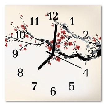 Zegar szklany kwadratowy Kwiaty