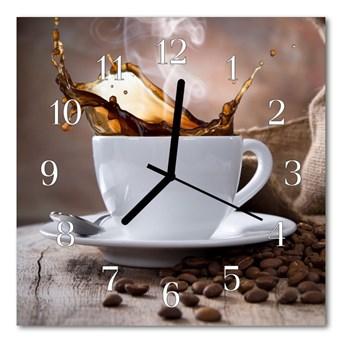 Zegar szklany kwadratowy Kawa