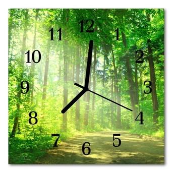 Zegar szklany kwadratowy Natura las