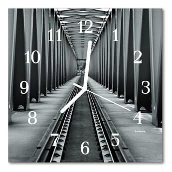 Zegar szklany kwadratowy Tory kolejowe