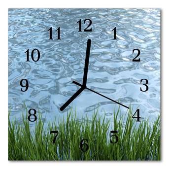 Zegar szklany kwadratowy Woda z trawy