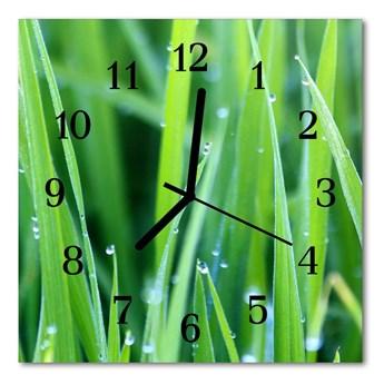 Zegar szklany kwadratowy Rosa na trawie