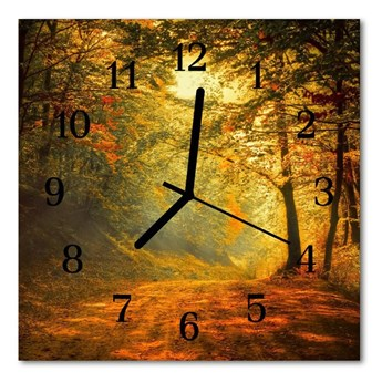 Zegar szklany kwadratowy Las jesień