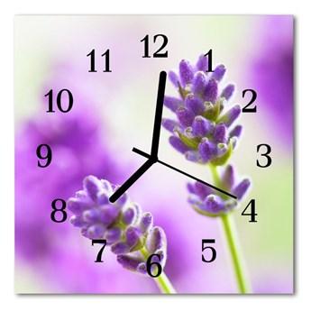 Zegar szklany kwadratowy Lawenda