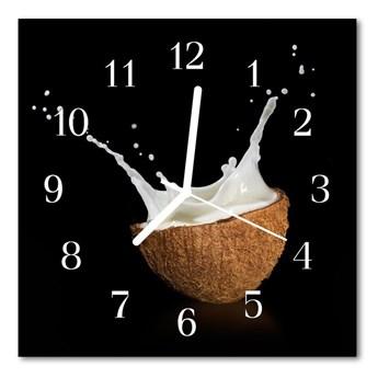 Zegar szklany kwadratowy Orzech kokosowy