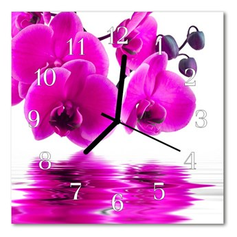Zegar szklany kwadratowy Storczyk