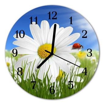 Zegar ścienny okrągły Biedronka kwiat